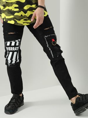 IMPACKT Ripped Text Print Skinny Fit Jeans