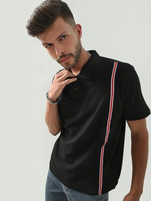 REALM Contrast Vertical Tape Polo Shirt