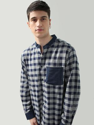 Oxolloxo Check Print Contrast Patch Pocket Shirt