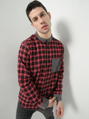 Oxolloxo Checkered Patch Pocket Causal Shirt
