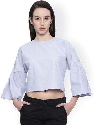 Blue Saint Solid Crew Neck Regular Blouse