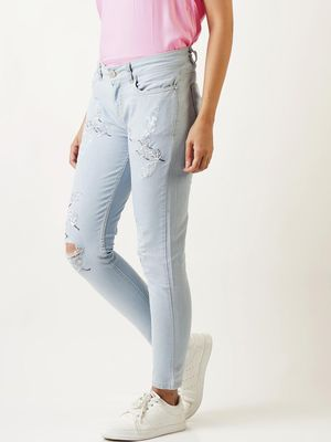 Blue Saint Bird Patch Distressed Slim Fit Jeans