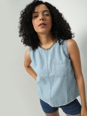 Blue Saint Back Split Hem Denim Top