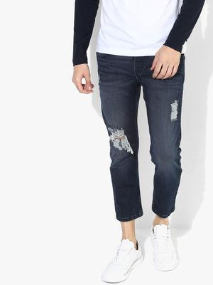 Blue Saint Mid-Wash Distressed Cropped Jeans