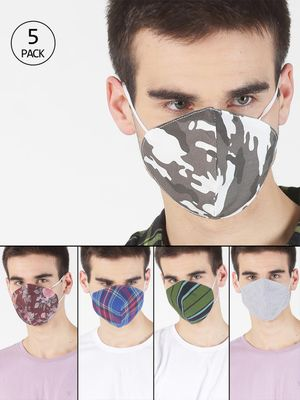 Blue Saint Resuable Fabric Safety Mask (Pack Of 5)