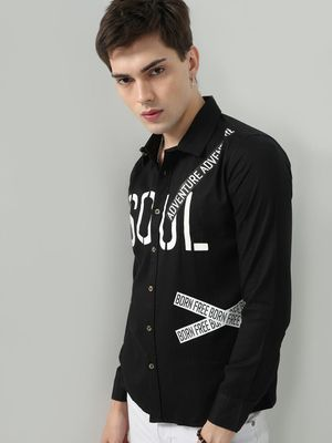 REALM Patch Text Placement Print Shirt