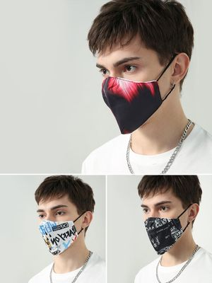 Kultprit Printed Reusable Fabric Safety Mask (Pack Of 3)