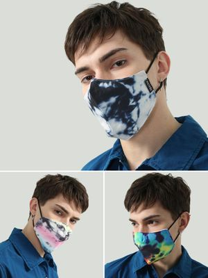 Kultprit Tie & Dye Print Reusable Fabric Safety Mask (Pack Of 3)