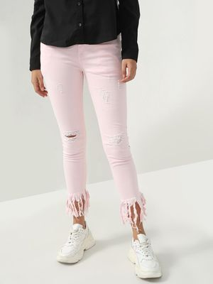 Blue Saint Distressed Fringed Cropped Jeans