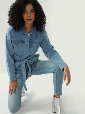 Blue Saint Belted Light-Wash Denim Jacket