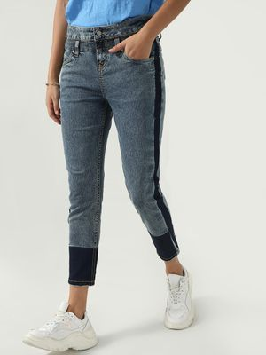 Blue Saint Color-Block Stone-Wash Jeans