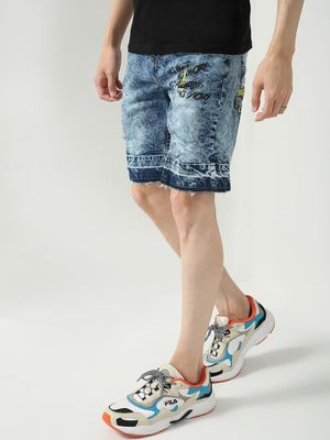 Blue Saint Acid Wash Text Print Shorts