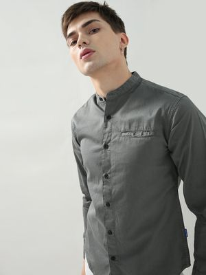 Blue Saint Mandarin Collar Casual Shirt