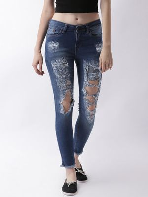 Blue Saint Mid-Wash Heavy Ripped Denim Jeans