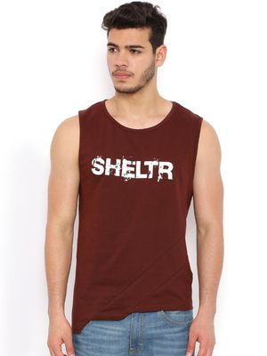 Sheltr Text Print Round Neck Vest