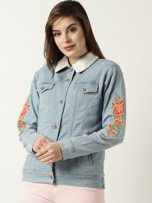Blue Saint Floral Print Casual Jacket