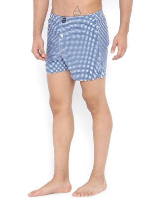 Blue Saint Check Print Boxers