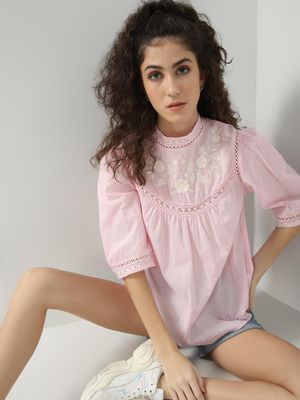 Oxolloxo Floral Embroidered Lace DetailTop