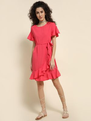 Oxolloxo Frilled Tie-Up Shift Dress