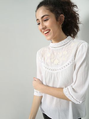 Oxolloxo Floral Embroidered Lace Detail Top