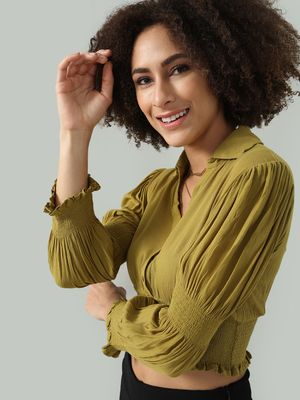 Oxolloxo Smocked Button-Down Crop Top