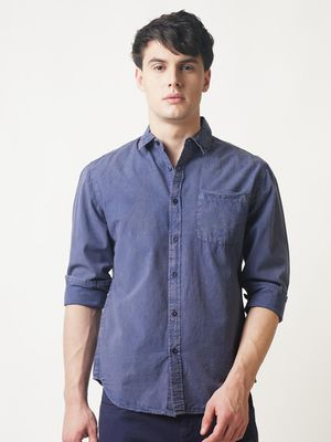 Blue Saint Acid-Wash Front Patch Pocket Shirt