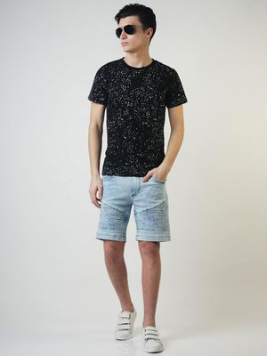 Blue Saint Paint Splatter Casual T-shirt