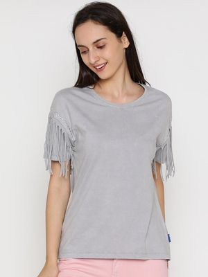 Blue Saint Fringe Trim Sleeve Casual Top