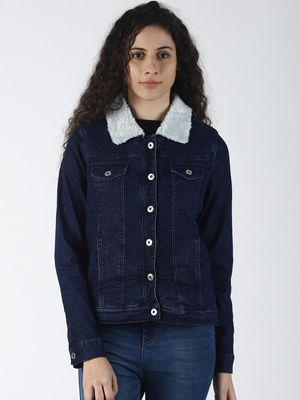 Blue Saint Fur Collar Denim Jacket