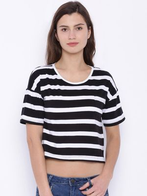 Blue Saint Striped Crop Casual Top