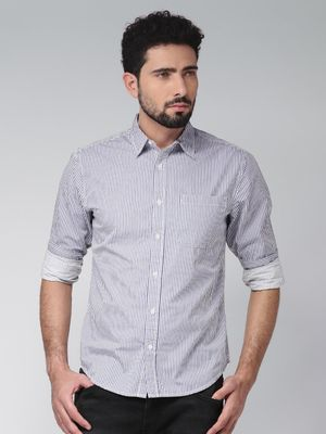 Blue Saint Back Graphic Print Casual Shirt