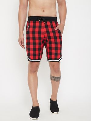 FUGAZEE Red Checkered Flannel Basketball Shorts