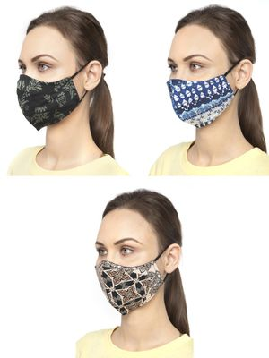 Oxolloxo Printed Reusable Safety Mask (Pack Of 3)
