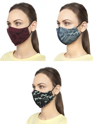 Oxolloxo Floral Mesh Safety Mask (Pack Of 3)