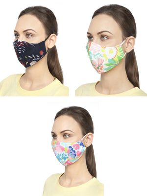 Oxolloxo Floral Print Safety Mask (Pack Of 3)
