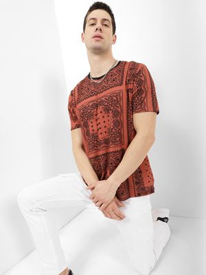 Blue Saint AOP Tee With Solid Rib