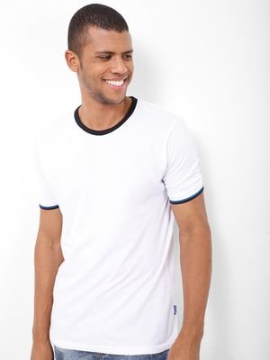 Blue Saint Tee With Tipped Ribs Detail