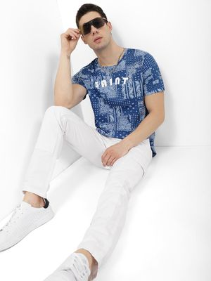 Blue Saint Tee With Ombre Effect AOP Print & Chest Print