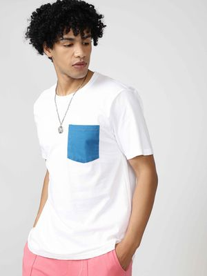 Blue Saint Tee With Contrast Pocket Detail