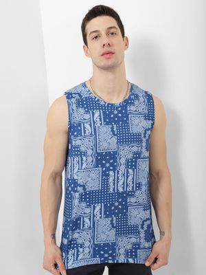 Blue Saint Tank With Ombre Effect All over Print
