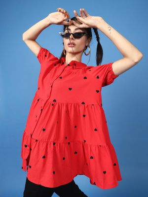 Oxolloxo Little Hearts Tunic In Red