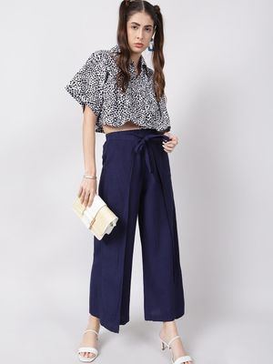 Oxolloxo Navy Solid Wrap Linen Blend Pants