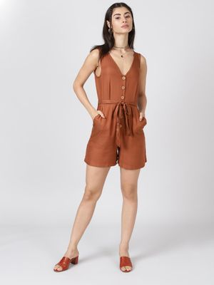 Oxolloxo Brown Solid Viscose Twill Playsuit