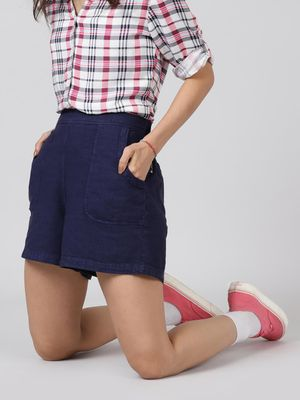 Oxolloxo Cotton Washed Shorts  in Navy