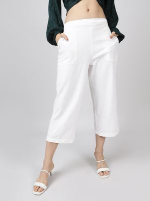 Oxolloxo Cotton Washed Culottes in White