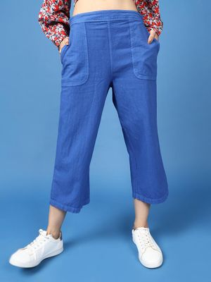 Oxolloxo Cotton Washed Culottes in Cobalt Blue