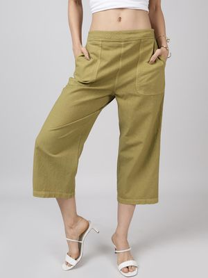 Oxolloxo Cotton Washed Culottes in Olive Green