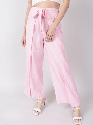 Oxolloxo Baby Pink Solid Wrap Linen Blend Pants