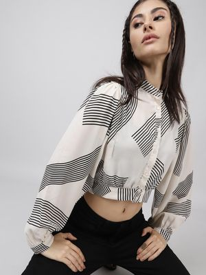 Oxolloxo Graphic Print Cropped Shirt