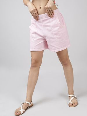 Oxolloxo Cotton Washed Shorts  in Baby Pink